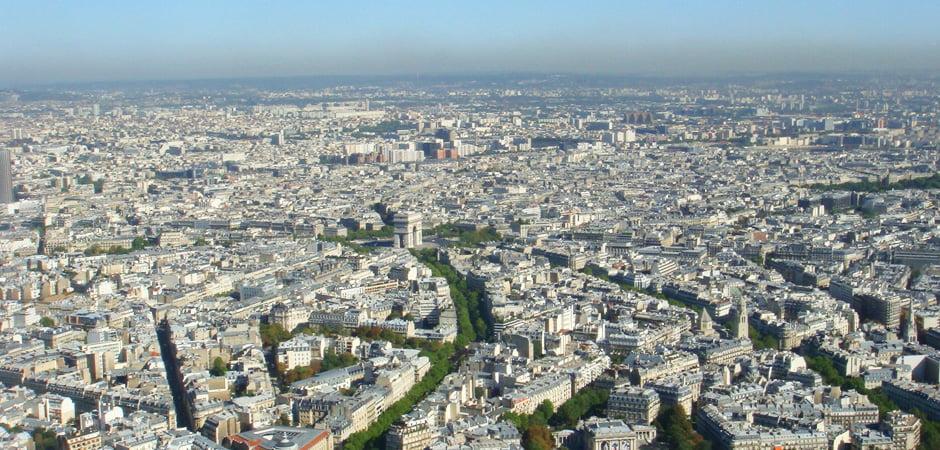 フランスパリの上空写真
